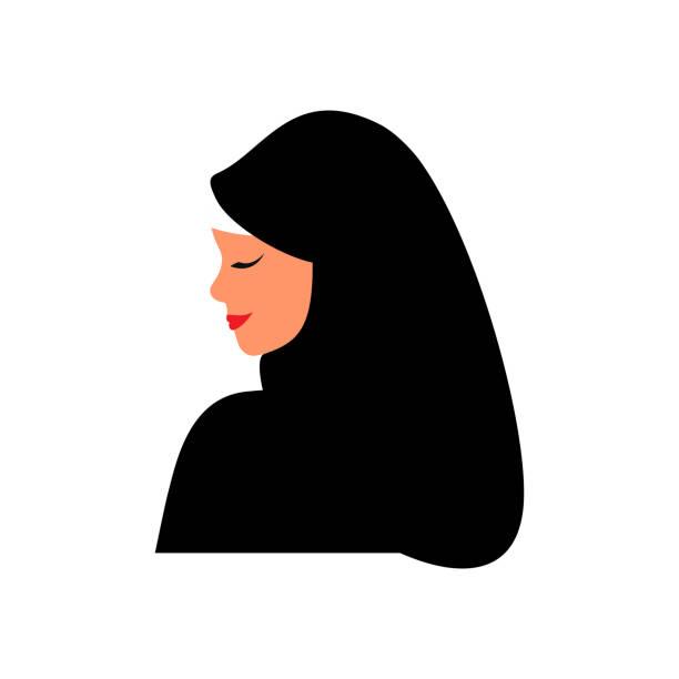 年輕的阿拉伯婦女穿著黑色頭巾。 - emirati woman 幅插畫檔、美工圖案、卡通及圖標