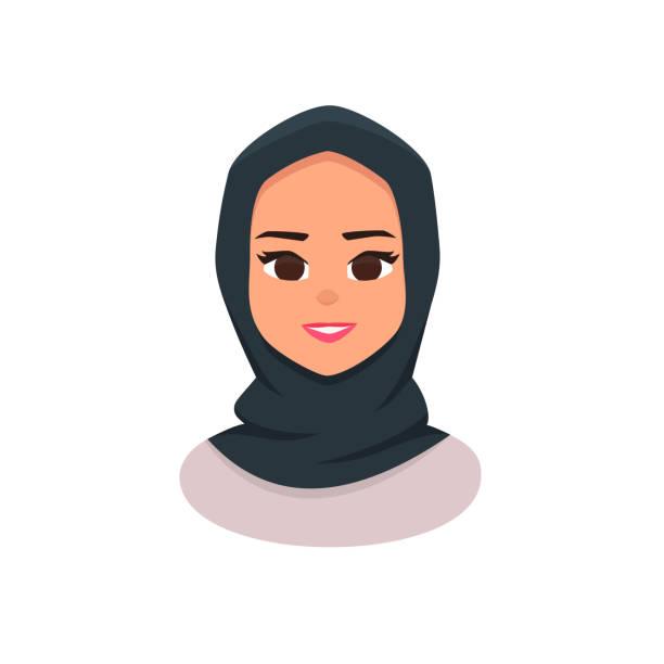 戴頭巾的年輕阿拉伯商人婦女 - emirati woman 幅插畫檔、美工圖案、卡通及圖標