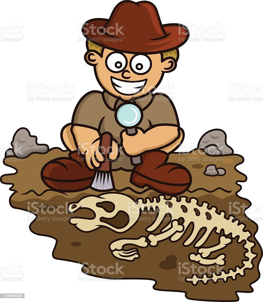 Young Archaeologist Discovering Fossil Cartoon vector art illustration