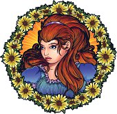 Young Art Nouveau Girl in a Circle of Daisies