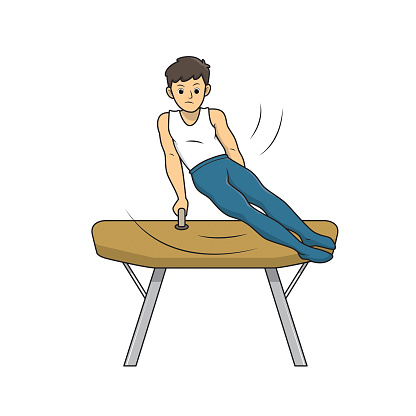 Young artistic gymnastics athlete training on pommel horse isolated on white background. Kids coloring page, drawing, art, first word, flash card. Color cartoon character clipart vector illustration.