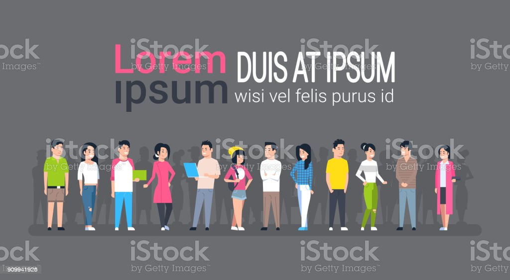 Young Asian Men And Women Group Chinese Or Japanese Male And Female People Wearing Casual Clothes Full Length vector art illustration