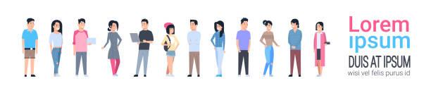 bildbanksillustrationer, clip art samt tecknat material och ikoner med unga asiatiska män och kvinnor ikoner anger kinesiska eller japanska manliga och kvinnliga full längd isolerade - helkroppsbild