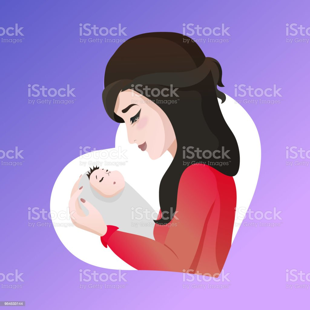 Young asian mother with baby in her hands.