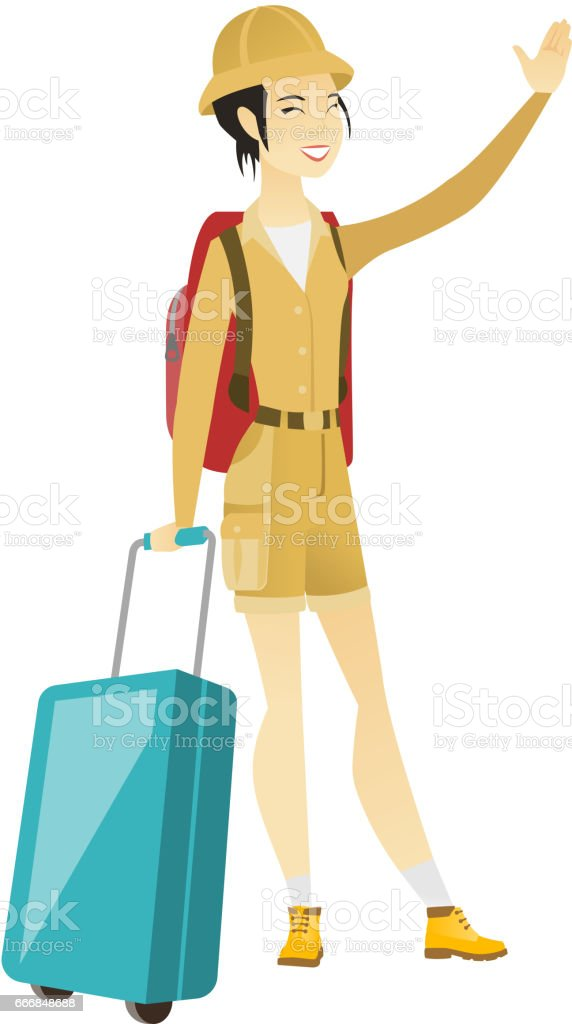 Young asian traveler waving her hand