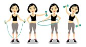 Four poses of a young asian woman exercising with a jumping rope, dumbbells and hoop.