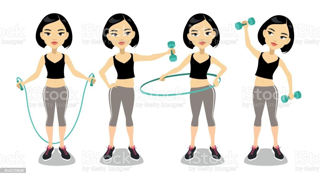 Young asian woman exercising vector art illustration