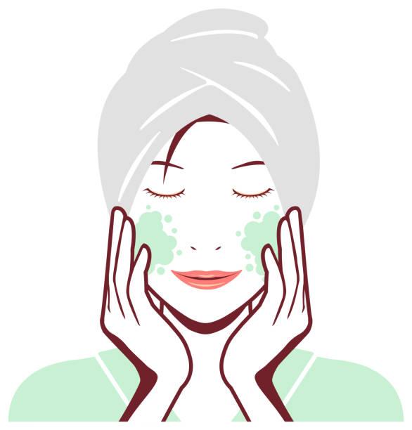 bildbanksillustrationer, clip art samt tecknat material och ikoner med ung asiatisk kvinna ansikte vektor illustration (bara ur badet)/rengöring, makeup borttagning - japanese bath woman