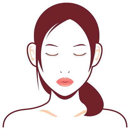 若いアジアの女性の顔ベクトルイラストキス顔目を閉じた 1人のベクターアート素材や画像を多数ご用意 Istock