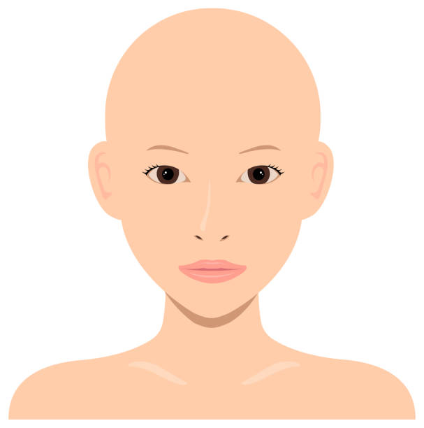 ilustrações de stock, clip art, desenhos animados e ícones de young asian woman face vector illustration / skin head, no hair - da cintura para cima