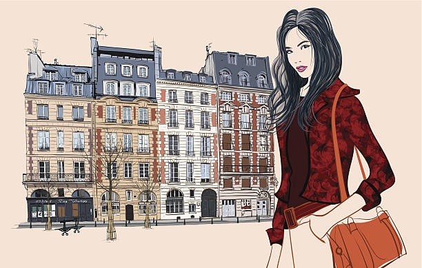 ilustraciones, imágenes clip art, dibujos animados e iconos de stock de joven mujer asiática visita de parís - moda parisina