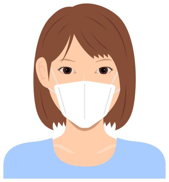 Young asian woman (upper body )  wearing a mask vector illustration / Coronavirus (influenza  hay fever etc.)  prevention. vector art illustration