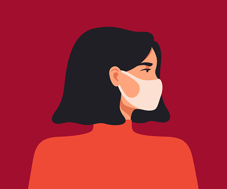 Young asian woman wears a breathing mask to protect against coronavirus and air pollution.