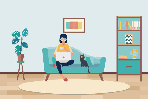 young asian woman working from home vector art illustration