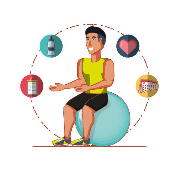 junge sportler training sport mit gesunden lebensstil icons - workout kalender stock-grafiken, -clipart, -cartoons und -symbole