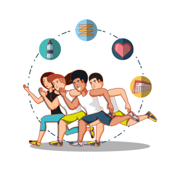 young athletes training sport with healthy lifestyle icons - workout calendar stock illustrations, clip art, cartoons, & icons