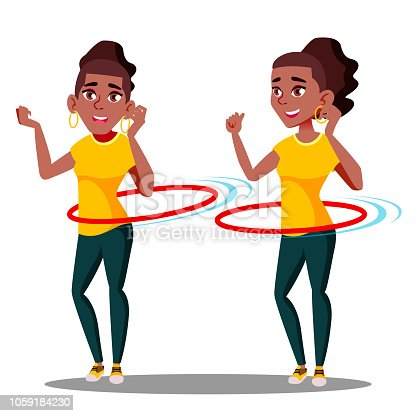 Young Athletic Black Afro American Girl Rotates Hula Hoop Vector. Isolated Illustration