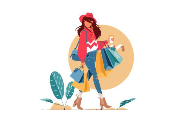 stockillustraties, clipart, cartoons en iconen met jonge aantrekkelijke modieuze vrouw die pakketten met kleren na het winkelen houdt. - shopaholic