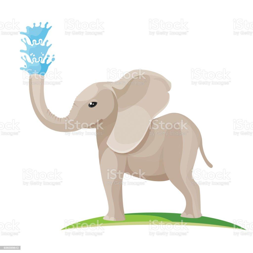 Ilustración de Elefante Bebé Sopla Agua De Tronco y más banco de ...