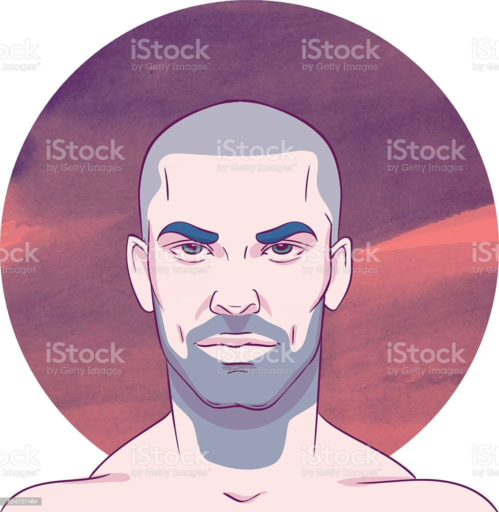 Young bald unshaven man with a mustache and beard vector art illustration