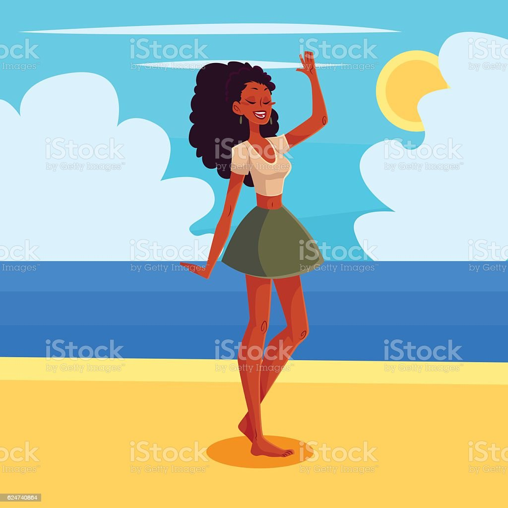 Young barefooted african american woman dancing vector art illustration
