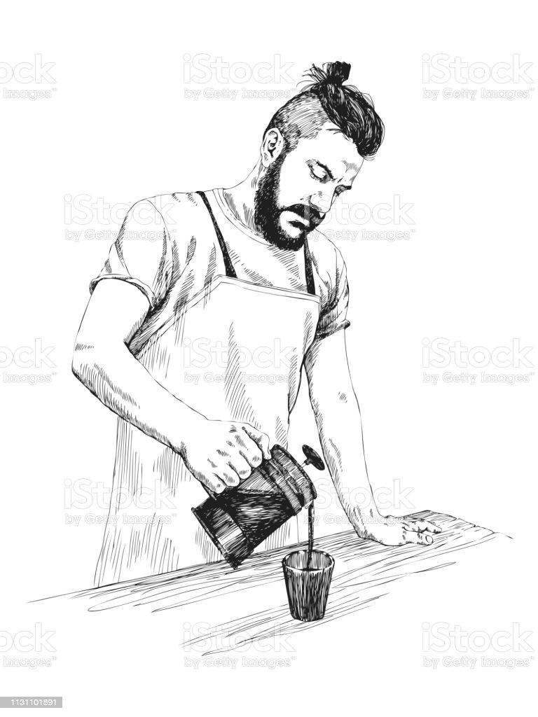 Jeune Barista homme dans le tablier avec une barbe tient une presse à café et verse le café dans une tasse. Illustration vectorielle dans le style de crayon. Croquis de détails élevés. Concept de café. Concept de restaurant. - Illustration vectorielle