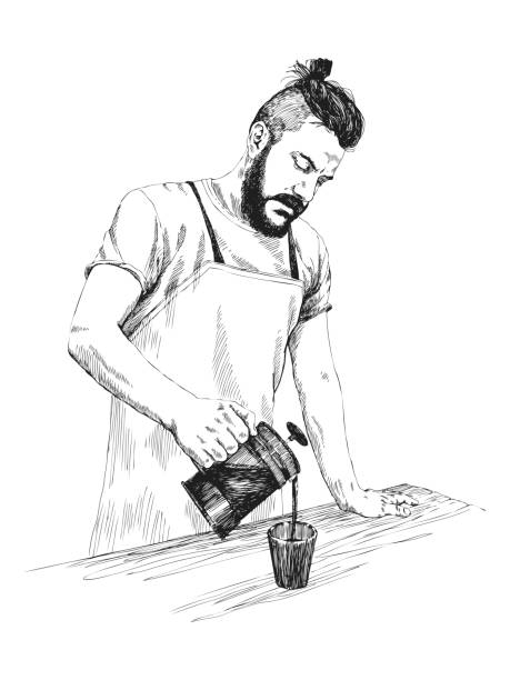 young barista man in apron with a beard holds a coffee press and pours coffee in a mug. vector illustration in pencil style. high details sketch. coffee concept. restaurant concept. - barista stock illustrations, clip art, cartoons, & icons