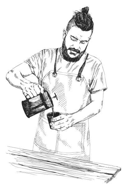 ilustraciones, imágenes clip art, dibujos animados e iconos de stock de joven barista hombre en delantal con una barba sostiene una prensa de café y vierte café en una taza. ilustración vectorial en estilo lápiz. bosquejo de los detalles altos. concepto de café. concepto de restaurante. - barista
