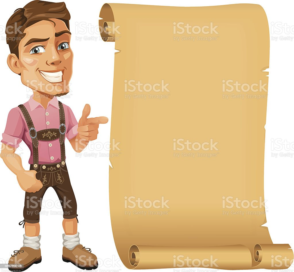 Young Bavarian Man wearing Lederhosen pointing at Paper Scroll royalty-free stock vector art