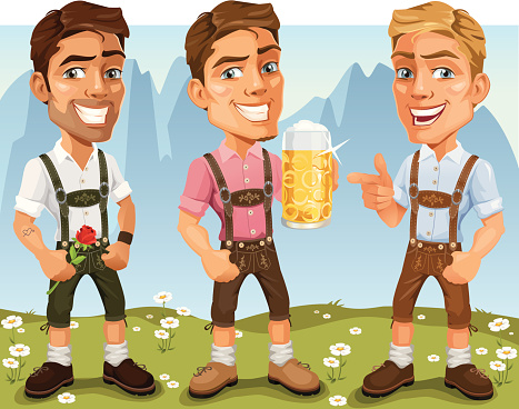 Young Bavarian Oktoberfest Cartoon Men wearing Lederhosen, drinking beer