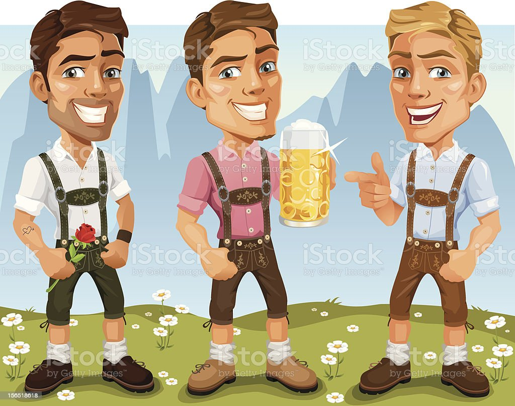 Junge bayerische Oktoberfest Comic Mann in Lederhose-Trachtenmode, trinken Bier – Vektorgrafik
