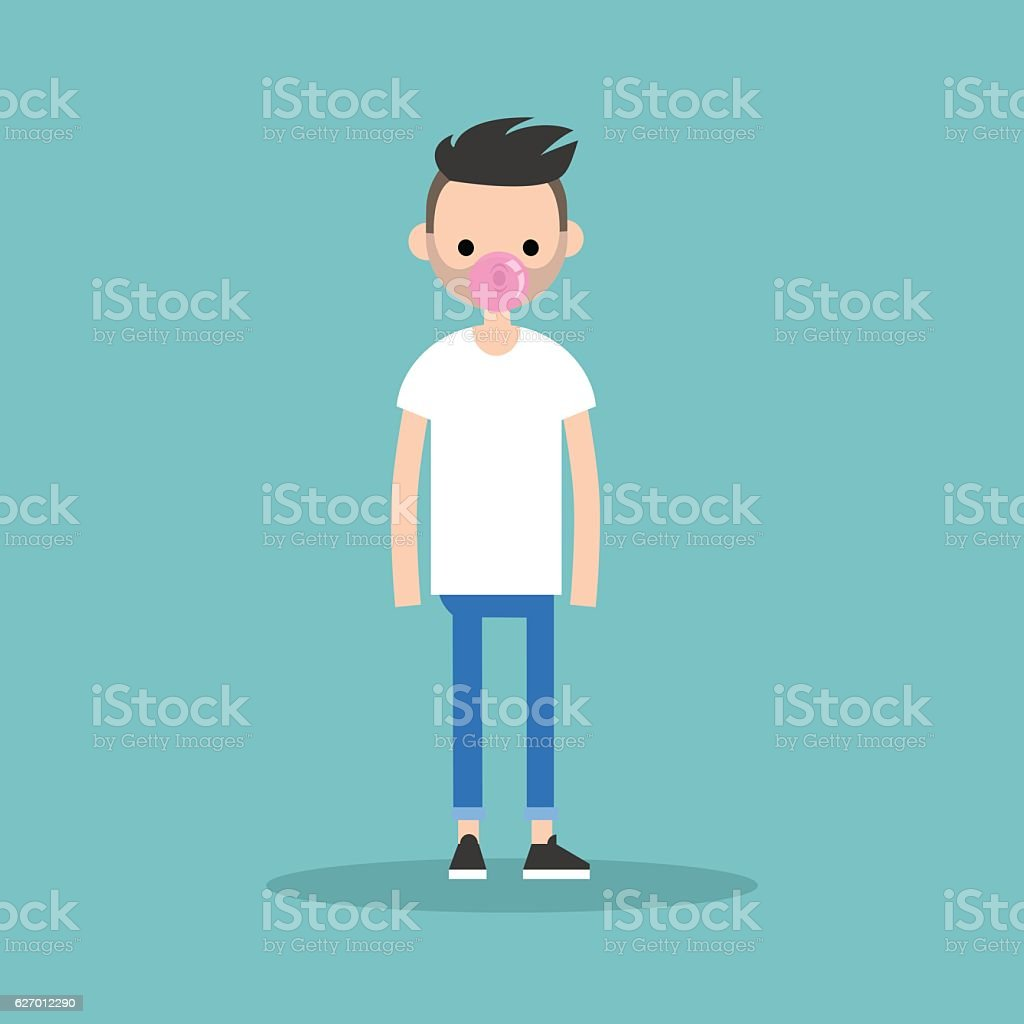 Young bearded man blowing bubble gum vector art illustration