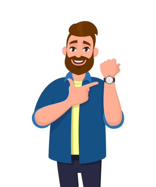 bildbanksillustrationer, clip art samt tecknat material och ikoner med ung skäggiga man pekar eller visar tid på hans armbandsur. manlig karaktär design illustration. trendig person som står isolerad i vit bakgrund. modern livsstil, koncept i vektor cartoon. - armbandsur
