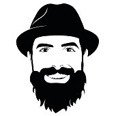 Vector portrait of bearded man wearing hat smiling and looking at camera