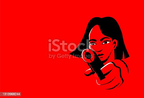 istock Young beautiful asian woman with bob hair and big eyes is aiming from a weapon. Dangerous and confident. Vector illustration in red and black colors. Trigger finger 1313968244