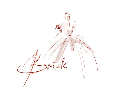 Young beautiful bride in dress. Hand-drawn fashion illustration