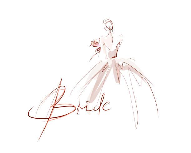 ilustrações, clipart, desenhos animados e ícones de noiva bonita nova no vestido. ilustração hand-drawn da forma - moda de casamento