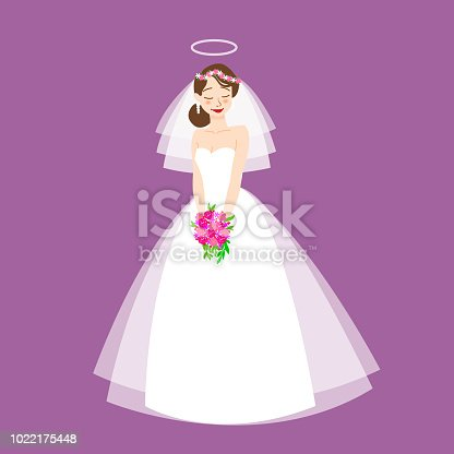 Young beautiful bride is in an elegant wedding dress. Vector illustration for your design.Invitation, greeting card, template for the bride show.Cartoon flat vector illustration for the wedding invitation and graphic design. Bride wearing wedding dress