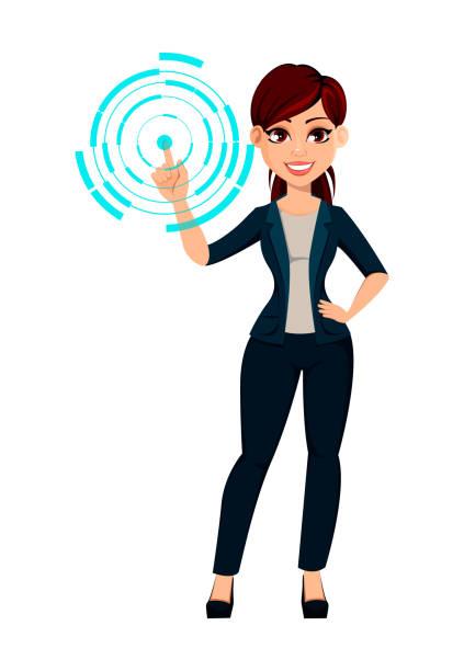 ilustrações de stock, clip art, desenhos animados e ícones de young beautiful business woman - business woman hologram