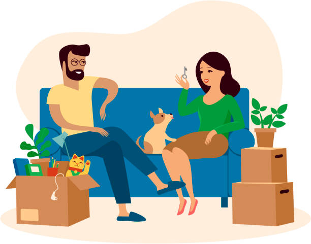 Young beautiful couple and their dog moving to new home Young beautiful couple in love and their dog moving to new home, sitting on the sofa happy and cheerful for new apartment cardboard boxes around. woman holding new Key young couple stock illustrations
