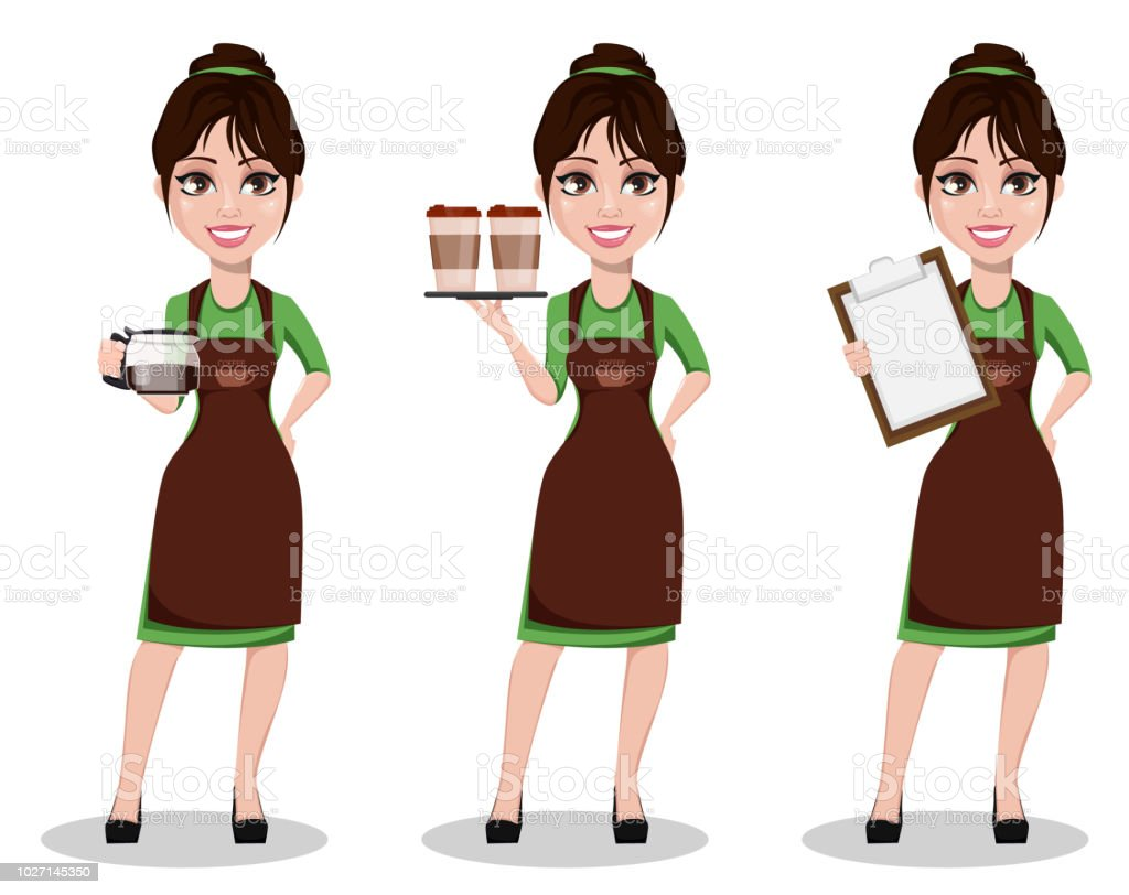 Young beautiful female barista in uniform vector art illustration