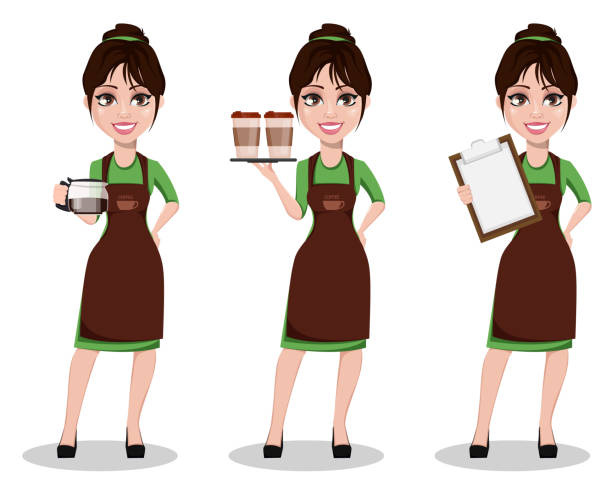 young beautiful female barista in uniform - barista stock illustrations, clip art, cartoons, & icons