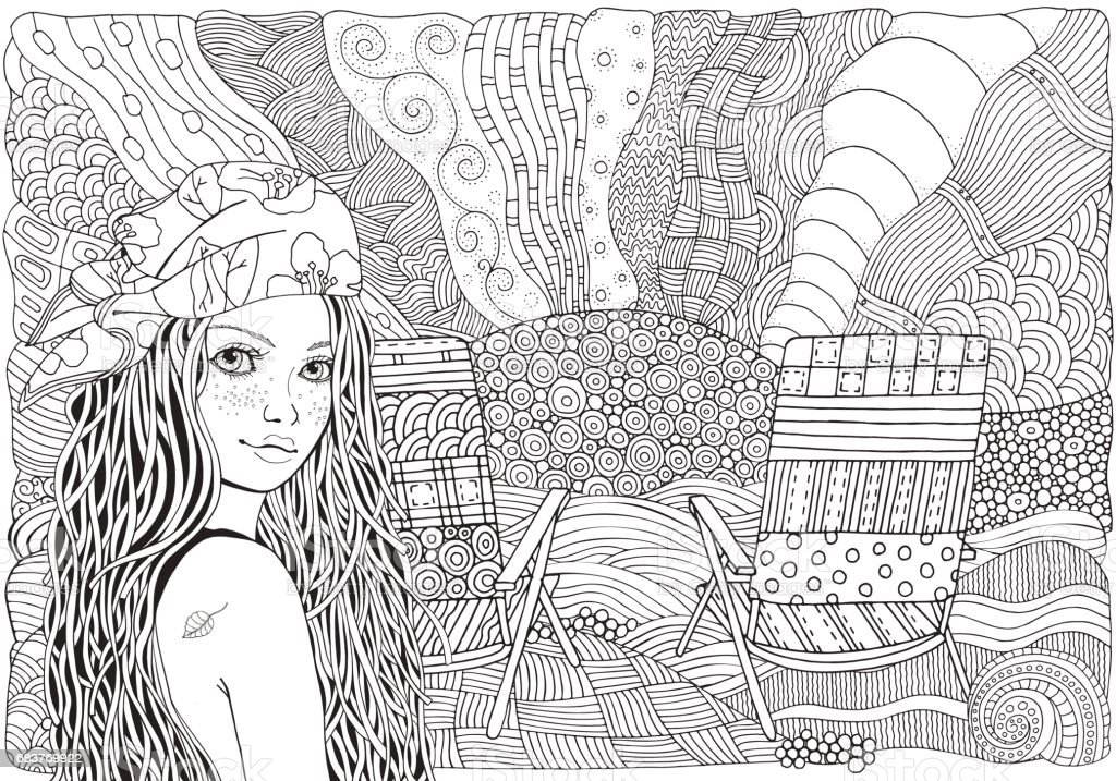 Young beautiful girl in bandana. Deckchair on a beach, facing out to sea. Doodle style. Black and white doodle coloring book vector art illustration