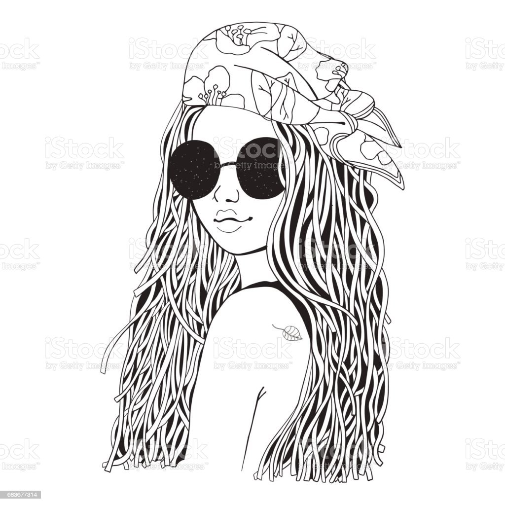 Young beautiful girl in sunglasses and bandana black and white doodle coloring book royalty