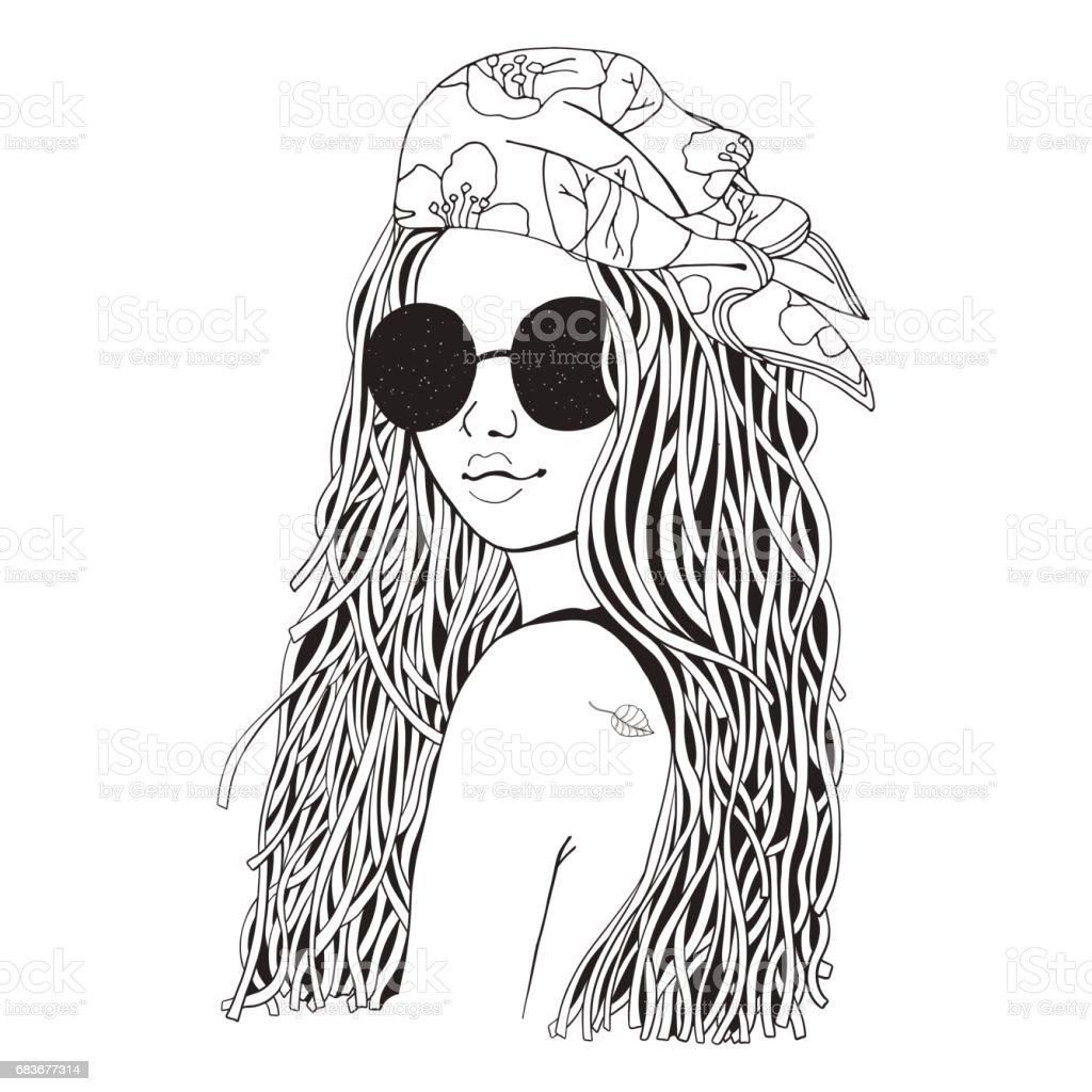 Güneş Gözlüğü Ve Bandana Genç Güzel Kız Siyah Ve Beyaz Boyama Doodle
