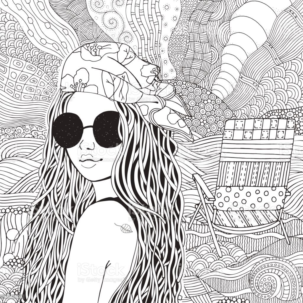 Ilustración de Joven Hermosa Chica En Gafas De Sol Y Pañuelo Doodle ...