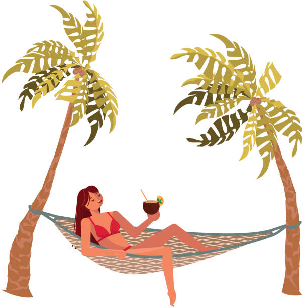 stockillustraties, clipart, cartoons en iconen met jong mooi meisje ligt in een hangmat - newspaper beach