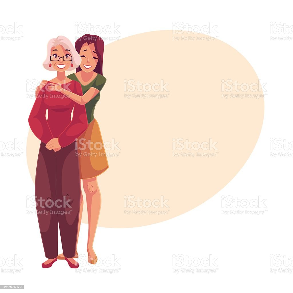 Young beautiful granddaughter hugging grandmother vector art illustration