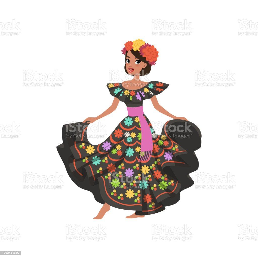 6c3ce5335 Ilustración de Joven Hermosa Mujer Mexicana En Traje Nacional ...