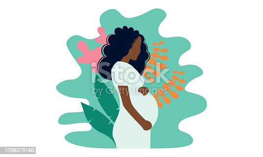 istock Young beautiful pregnant black woman in nature. Concept for pregnancy, motherhood. 1298375160
